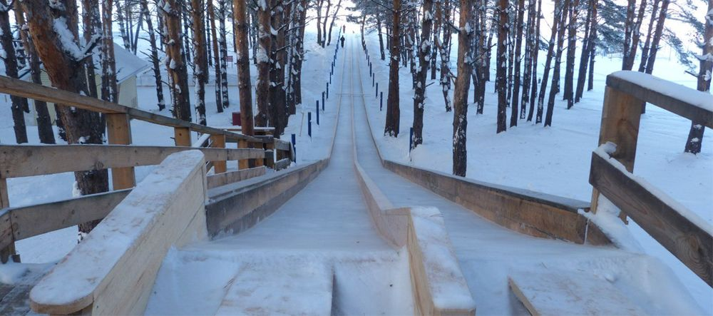 Самая длинная снежная горка в Алтайском крае